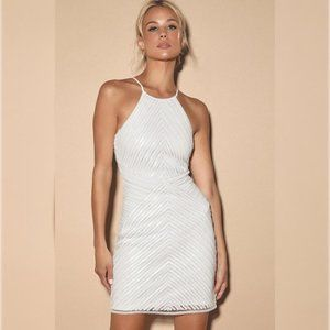 NEW Lulus Ace of Spades White Sequin Bodycon Dress
